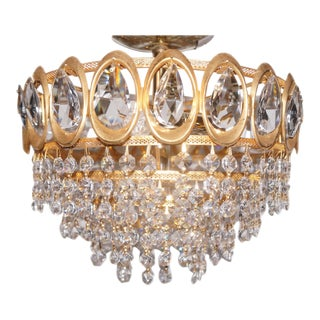 Palwa Hollywood Regency Gold and Crystal Chandelier