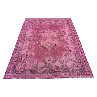 Pink Colour Turkish Overdyed Oushak Rug - 6′10″ × 10′4″