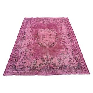 Flamingo Pink Overdyed Oushak Rug - 6′10″ × 10′4″