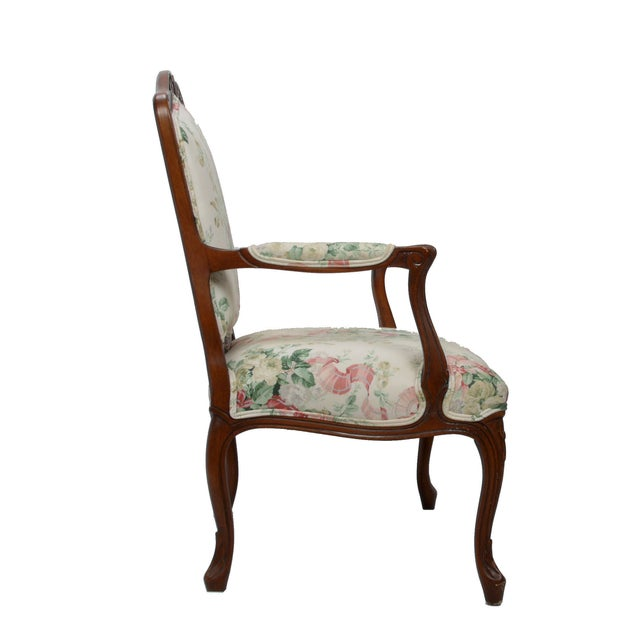 Hollywood Regency-Style Wood Arm Chair - Image 4 of 10