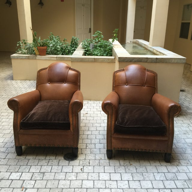 Studded French Leather & Mohair Armchairs - A Pair - Image 2 of 11