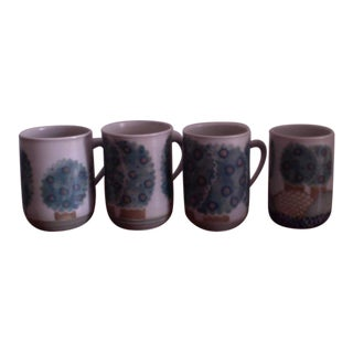 Hand Painted Coffee Mugs - Set of 4
