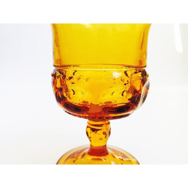 Vintage Amber Pressed Glass Goblets - Set of 8 - Image 5 of 5