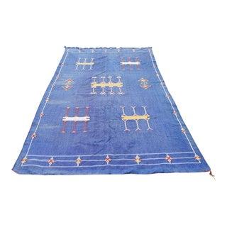 """Moroccan Indigo Blue Cactus Silk Rug- 4'5"""" x 8'"""