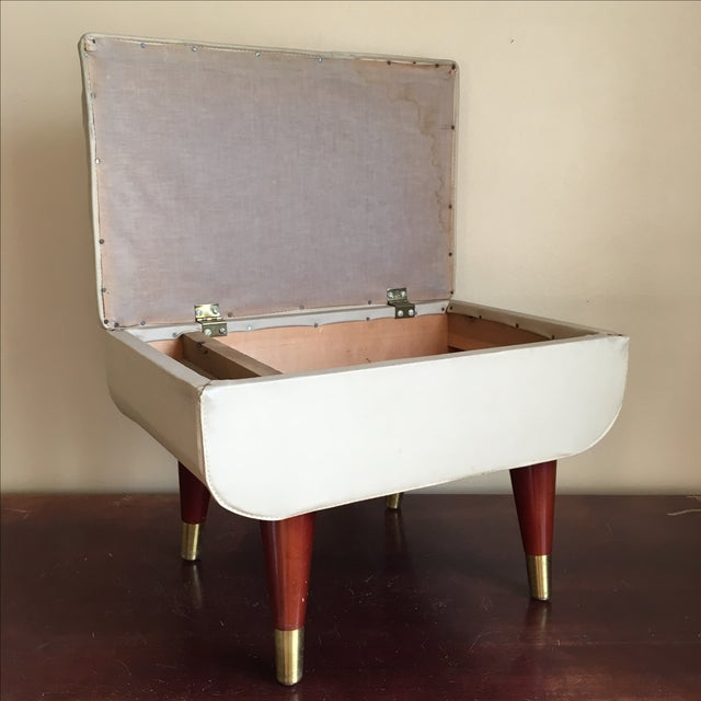 Mid-Century Sewing Stool with Storage - Image 3 of 11