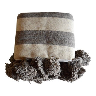 Grey Stripes Wool Moroccan Pom Pom Blanket