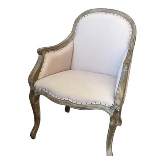 French Taupe Nailhead Trim Chair