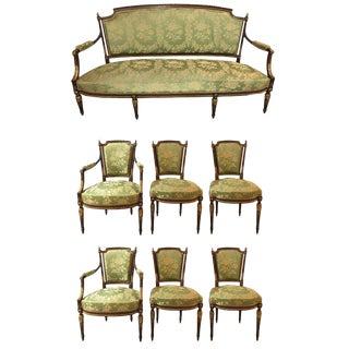 Louis XVI Style Parcel Gilt Mahogany Seven Piece Parlor Suite