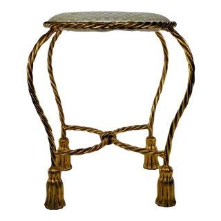 Hollywood Regency Gold Twisted Rope Vanity Stool