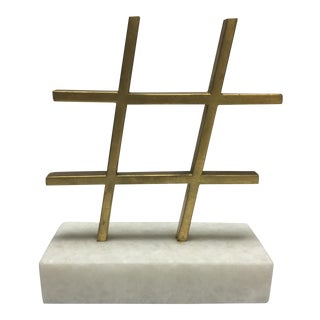 Brass Hashtag With Marble Base