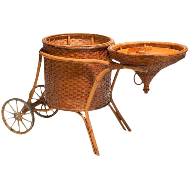 1937 Hawaiian Woven Cane & Rattan Bar Cart Owned by Shirley Temple - Image 1 of 3