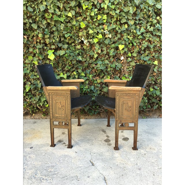 Black & Gold Theatre Chairs - A Pair - Image 4 of 6