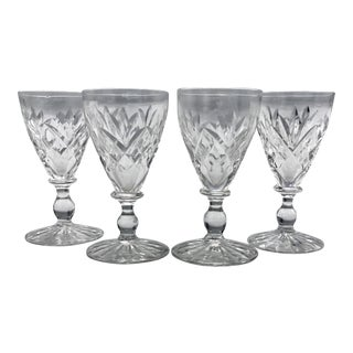 Antique Crystal Port or Sherry Glasses - Set of 4