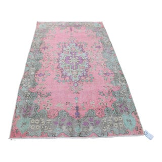 "Vintage Ori̇ental Turki̇sh Pink Wool Rug - 3'8"" x 6'8"""
