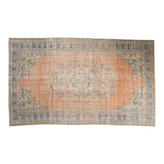 "Vintage Distressed Oushak Carpet - 5'5"" x 8'11"""