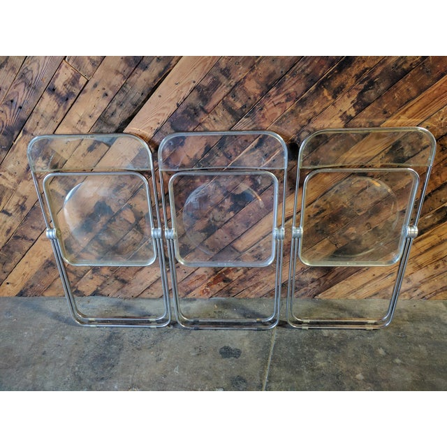 Piretti for Castelli 1970s Lucite and Chrome Folding Chairs - Set of 3 - Image 5 of 6