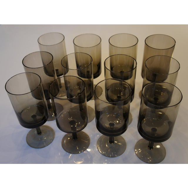 Mid-Century Smoke Glass Wine Glasses - Set of 12 - Image 4 of 8