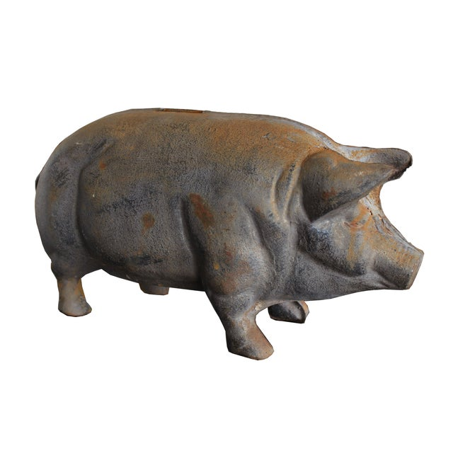Antique Large Cast-Iron Pig Bank - Image 1 of 6
