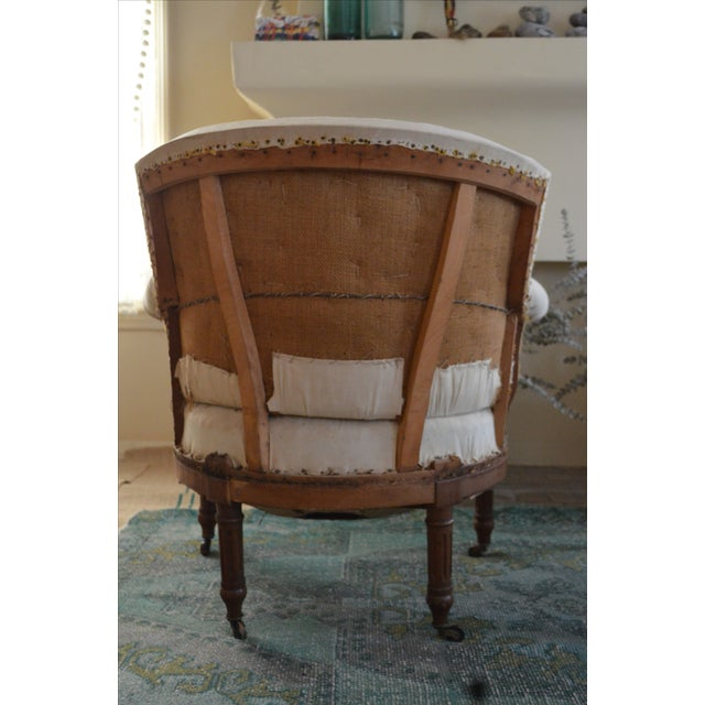Antique French Napoleon Armchair and Ottoman - Image 4 of 9