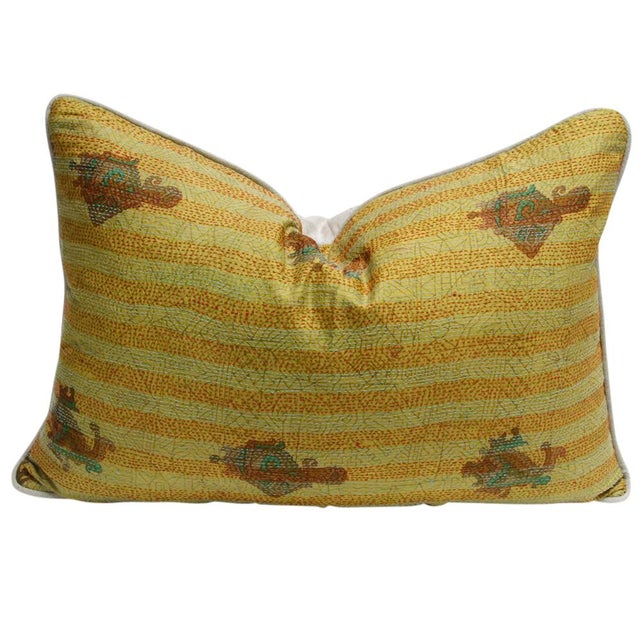 Goldenrod Bengal Silk Kantha Pillow - Image 2 of 4
