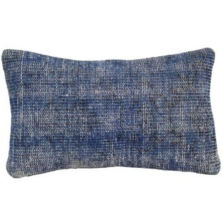 Vintage Blue Overdyed Rug Pillowcase - Turkish Hand Knotted Pillow