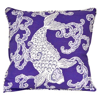 Blue Koi Fish Pillow Cover