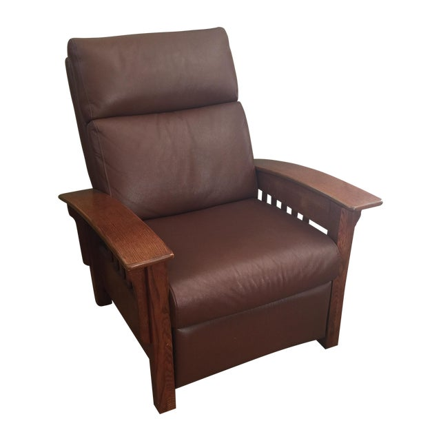 Broyhill Mission Style Brown Leather Chair - Image 1 of 4