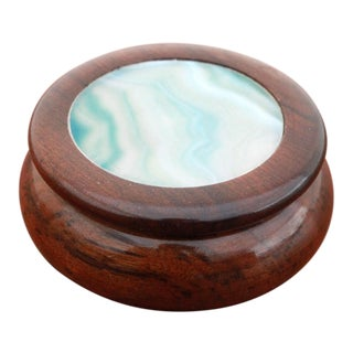 Vintage Ocean Blue Agate and Rosewood Trinket Box