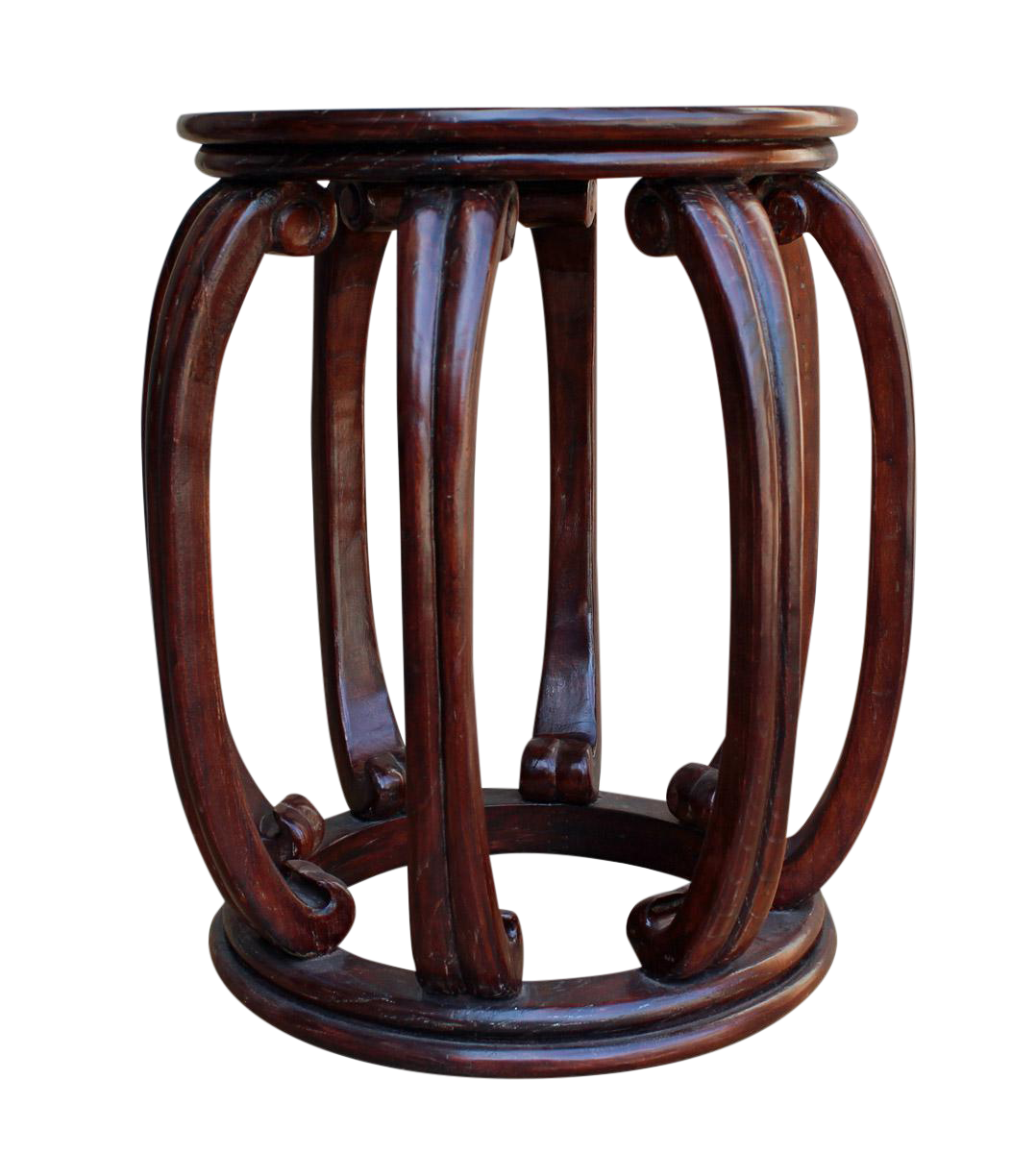 Chinese Oriental Brown Wood Barrel Stool