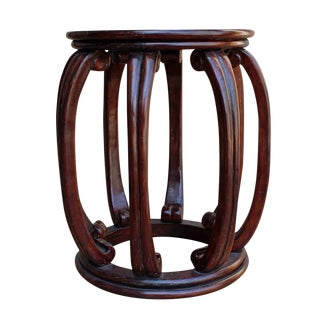 Chinese Oriental Brown Wood Barrel Stool