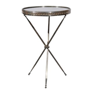 Round Silver plate Mid-Century Mirror Top Table