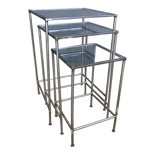 Glass & Metal Nesting Tables - Set of 3