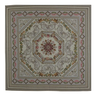 French Aubusson Design Hand Woven Wool Rug - 8' X 8'