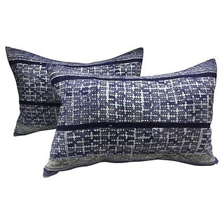 Indigo Tribal Batik Pillows - A Pair