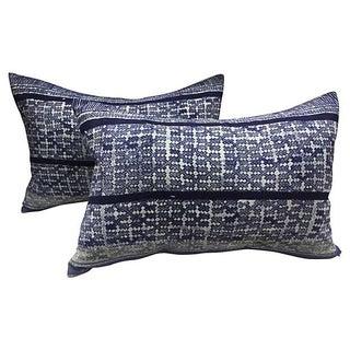 Indigo Tribal Batik Pillows - A Pair