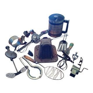 Antique Kitchen Utensils Cookware - 14 PC.