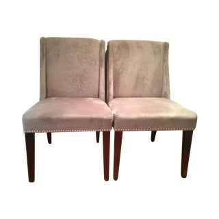 Velvet Studded Dining Chairs - Pair