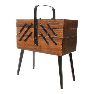 Danish Modern Wood Accordion Sewing Box