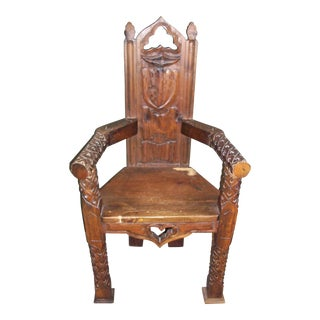 Handcarved Masonic Gothic Wood Throne Chair
