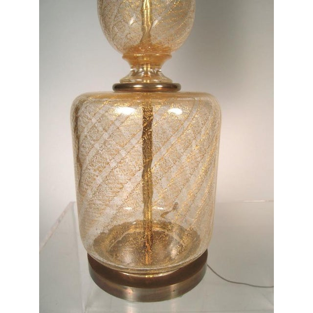 Image of Large Elegant Pair of Venetian Gold and Clear Blown Glass Lamps