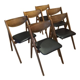 Mid-Century Stakmore Folding Dining Chairs - Set of 6