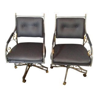 Hollywood Regency Blue Gray Office Chairs - A Pair