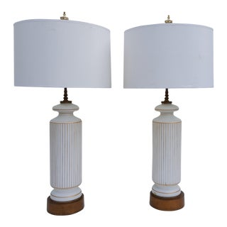 Western Germany White Opaline Table Lamps A Pair.
