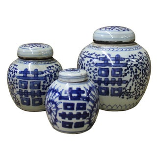 """Blue & White """"Double Happiness"""" Porcelain Ginger Jars - Set of 3"""
