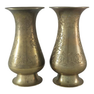 Etched Brass Vases - A Pair
