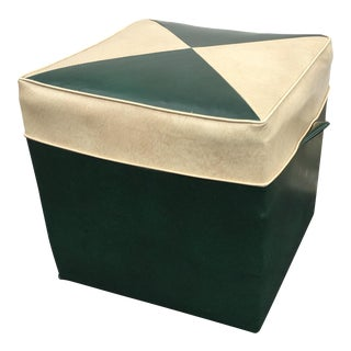 Vintage Forest Green and Sand Vinyl Hassock