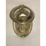 Image of Antique Early 1900s French Brass Lion Door Knocker