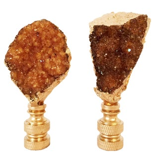 Citrine Geode & Gold Gilt Lamp Finials - A Pair
