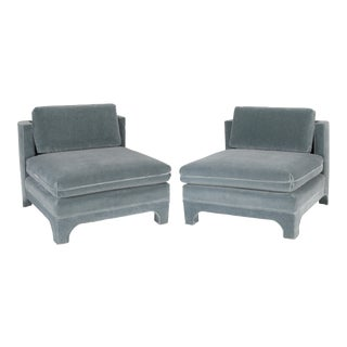 PAIR OF FULLY UPHOLSTERED INTERIOR CRAFTS SLIPPER CHAIRS, CIRCA 1970S