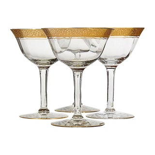 1930s Floral Gilt Rim Glass Coupes - Set of 4